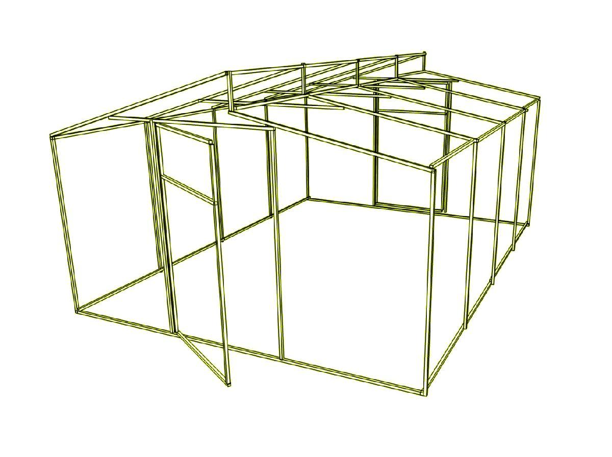 Доп. секция на каркас  теплицы Митлайдера (без поликарбоната) 600x200x280см